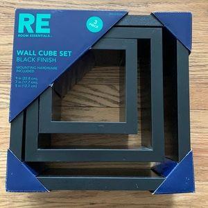 🆕 Black Finish Wall Cube Set